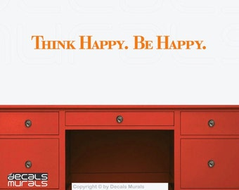 "Wall decals ""Think HAPPY. Be HAPPY."" Vinyl lettering art stickers decor by Decals Murals (small)"