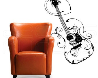 Wall decals FLORAL GUITAR Vinyl art surface graphics - Interior decor by Decals Murals (22x44)