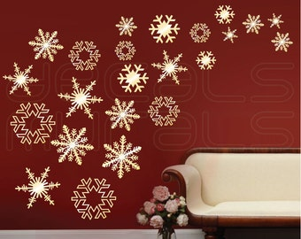 Wall decals SNOWFLAKES FALLING Holidays Christmas wall decor by Decals Murals (Set of 23)