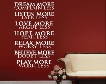 Wall decals LIFE RULES Dream more Complain less - Vinyl lettering quote interior decor by Decals Murals (28x47)