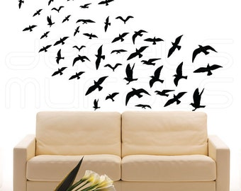 Wall decals FLOCK OF BIRDS Vinyl art interior decor by Decals Murals (Set of 47)