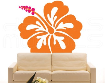 Wall decals HAWAIIAN FLOWER HIBISCUS Large vinyl decor stickers - Floral art by Decals Murals (45x50)