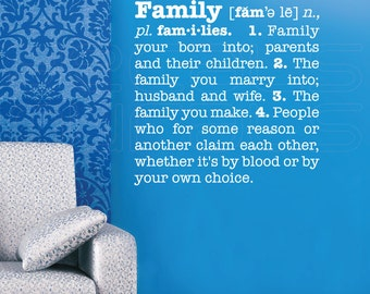 Wall decals FAMILY DEFINITION quote vinyl stickers lettering by Decals Murals (28x28)