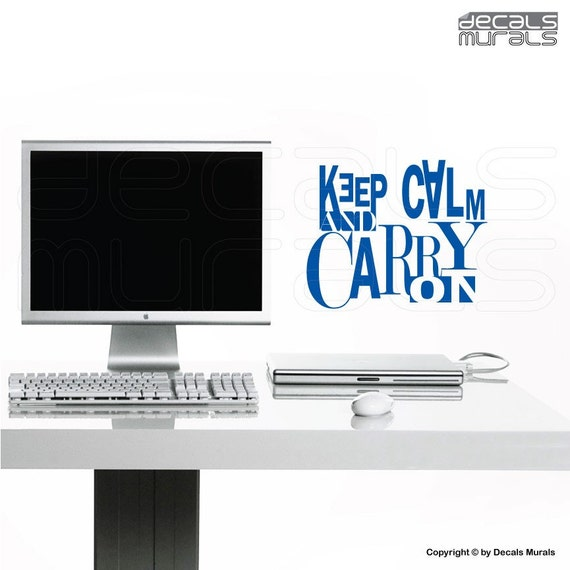 Wall decals quote Keep Calm and Carry On Vinyl ettering wall art interior stickers by Decal Murals