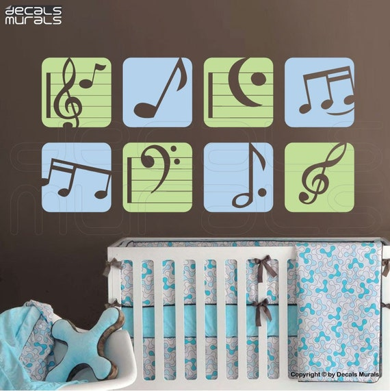 wall decal colorful music notes vinyl art stickers by. Black Bedroom Furniture Sets. Home Design Ideas