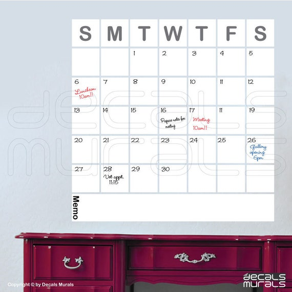 Dry Erase Calendar Decal : Dry erase squared calendar wall decals office decor surface