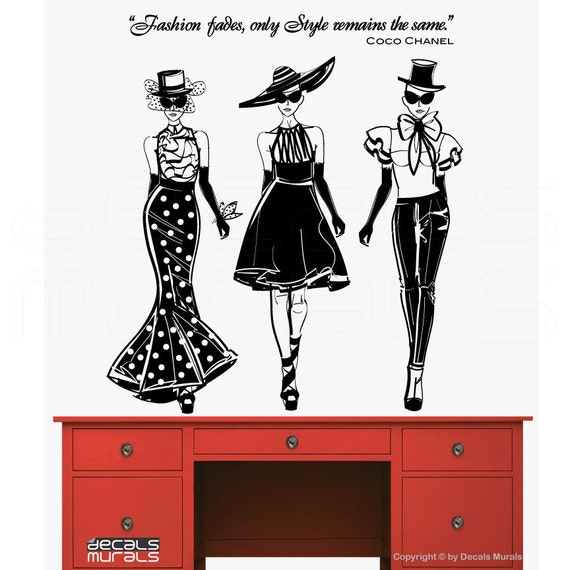 Wall decals FASHION MODELS with Coco Chanel quote Surface graphics interior decor by Decals Murals (42x47)