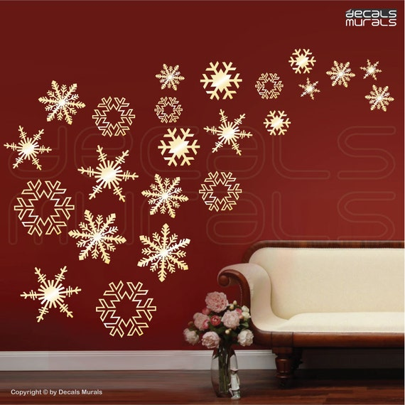 Wall Design For Christmas : Wall decals snowflakes falling holidays christmas by