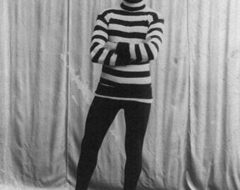 Funny Animal Photography - Vintage Llama - Collage Art - Llama Man - Black and White - Alpaca - Skate - Photoshopped - 8x10 Print