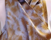 silk scarf Evergreen charmeuse hand painted pewter bronze unique men women