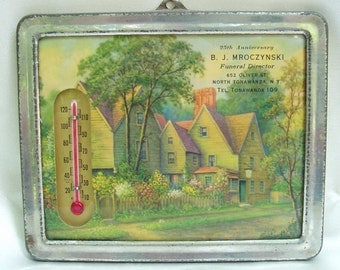 antique Thermometer Cottage Garden advertisement metal framed Buffalo funeral home polish