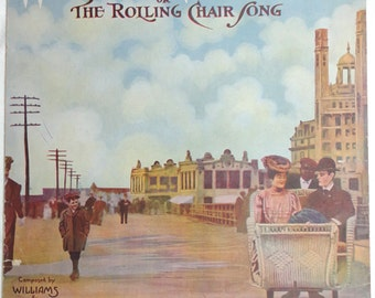 antique Atlantic City Boardwalk Rolling Chair Song illustrated