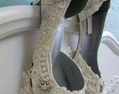 Lace Wedding Shoes - Vintage Lace - Crystal - One Of A Kind - Choose Your Heel Height - Choose From over 200 Colors - Bespoke Shoes Parisxox