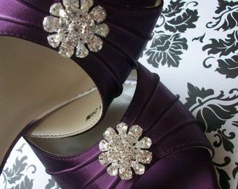 Wedding Shoes - Purple - Aubergine - Eggplant - Dyeable Choose From Over 100 Colors - Wide Sizes Available - Crystal - Choose Your Heel Size