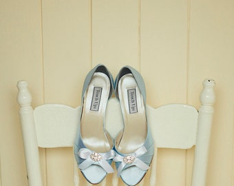 Wedding Shoe -Blue Wedding Shoe - Bow Wedding Shoe - Crystal Wedding Shoe - Bridal Shoe - Dyeable Wedding Shoe -Choose From 200 Shoe Colors