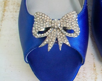 Wedding Shoes - Flats - Crystal Bow - Blue Flats - Dyeable Choose From Over 100 Colors - Peep Toe Flats - Comfortable Shoes - Flats Parisxox