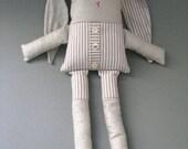 natural grey cotton bunny - silver linen & stripes - stuffed bunny - neutral nursery decor - toy unisex - babyshower gift - newborn gift