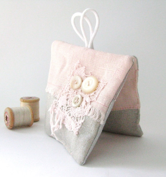 lavender sachets - teacher gift - laundry blush pink and neutral grey set of 2x lavender sachets - shabby home decor