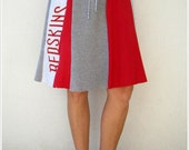 Washington Redskins T Shirt Skirt / Apple Red Gray / Women / Flare / Cotton / Soft / Eco Friendly / Gift for Her / ohzie
