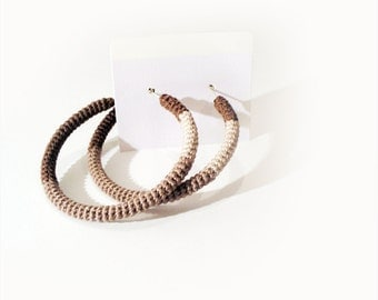 Crochet Tube Hoop Earrings Beige Brown