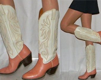 vintage womens 70s cowboy boots sz 6 6.5 70s peach pink cowgirl boots NICE