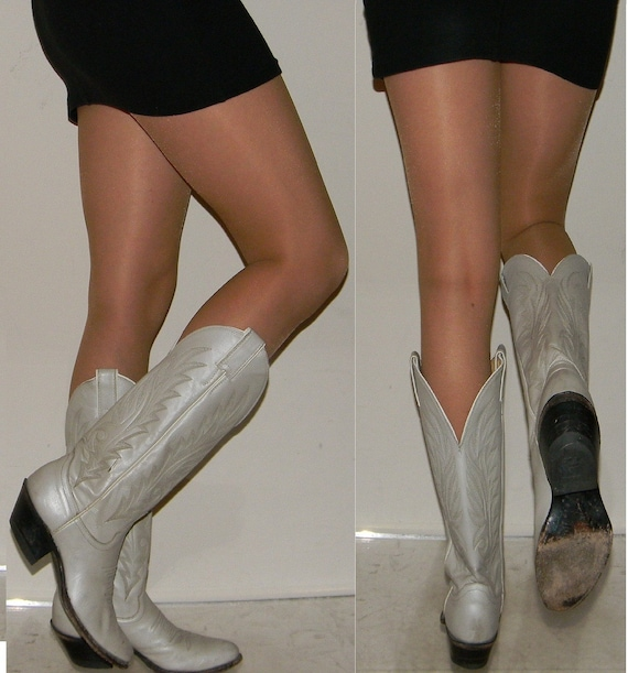 vintage 70s 80s boots sz 5.5 6 white pearlized leather Justin western riding cowboy cowgirl boots