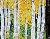 Custom Order Livegreen Birch  Aspen Trees Large Extra Large Landscape Original  Painting  30 w x 40 h x 1 .25 adding pink flowers