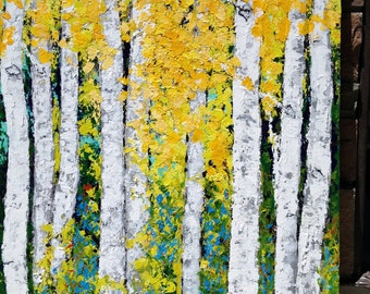 Birch  Aspen Trees Large Extra Large Landscape Original  Painting  48 x 60 x 1 Gallery Wrapped  Commission ships in 10 days.