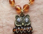 Brass Owl with Rhinestone Eyes and Crystal Feathers Necklace