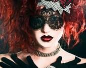 Lace mask Black eyelash lace veil Pseudo blindfold