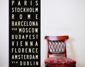 EUROPE Bus Scroll, Typography Poster, Canvas Subway Sign, European Tram Scroll, Black & White Roll Sign Print. 20.5 x 60