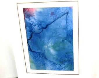 Hand painted silk card blue leaf design