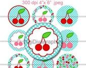 "Spring Cherry Polka Dot Bottle Cap 1"" Circles Digi Images - NO.108"