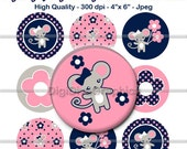 """M2MG Miss Mouse Bottle Cap 1"""" Circles Images - Collage Round Scrapbooking Digital Cupcake Topper - No.154"""
