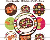"M2MG Fall For Autumn Bottle Cap 1"" Circles Images - Collage Round Scrapbooking Digital Cupcake Topper - No.134"