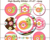 "M2MG Growing Flowers Bottle Cap 1"" Circles Images - round cupcake topper collage pendent bow center digital - No.148"