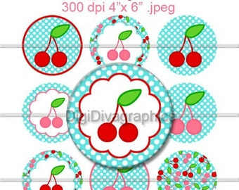 "Spring Cherry Polka Dot Bottle Cap 1"" Circles Digi Images - NO.108"