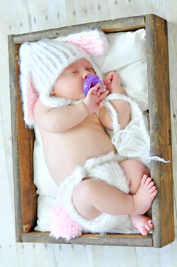 Baby Bunny Hat Diaper Cover Set, Newborn Bunny Set, Knit Bunny Outfit, Baby Easter Set, Baby Bunny Hat, Baby Bunny Photo Prop, Fuzzy Bunny