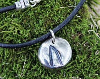 Ancient Rune Leather necklace  - handmade silver runic charm on black leather cord - mens, womens - personalized - free shipping