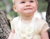 Rosette Necklace Bib with Satin Ribbon Ties Christmas Baptism Wedding Celebrity Gifted Suri Cruise Necklace