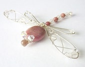 Pink Dragonfly - Rhodonite and Rose Quartz Sterling  Hair Pin, Clip, Brooch or Bouquet Decoration - Dragonfly Jewelry -Tagt