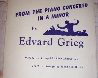 Sheet Music Theme from the Piano Concerto in A Minor by Edvard Grieg