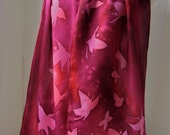 Silk scarf hand painted - Butterflies in flight - Plum Fall colors -  Made to order