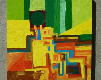 Abstract Oil Painting Landscape in Green, Yellow, Orange and Blue: 13 1/4 x 12 1/4