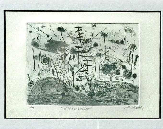 abstract drypoint, Wind and Ladder