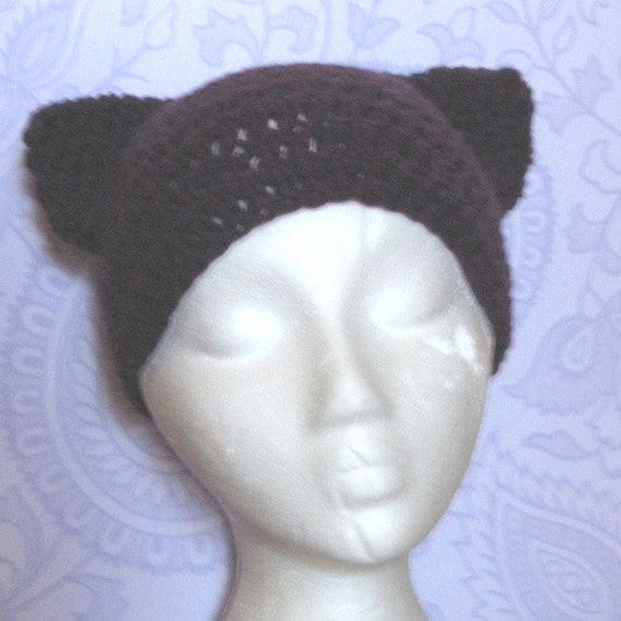 Cat Ears Kitty Hat Violet Handmade --Coupon Code