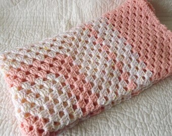 Crocheted Classic Style Granny Square Baby Blanket