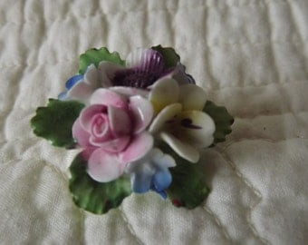 Vintage Made in England China Floral Brooch Pin