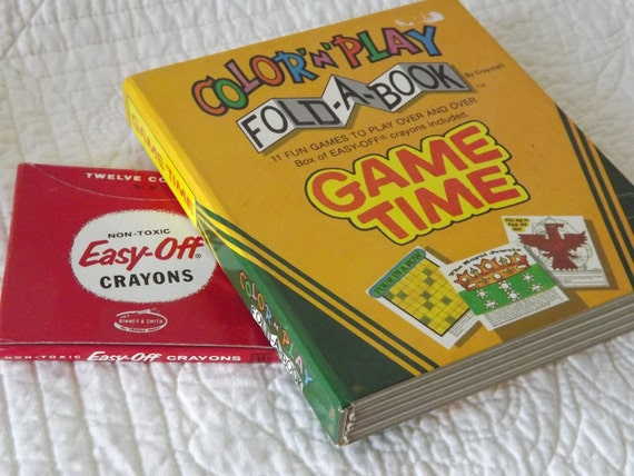 Vintage Color N Play Fold A Book by Crayola with 11 Games and Easy Off Crayons