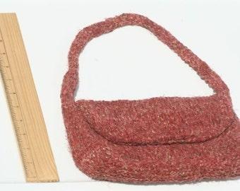 Hand-Knit Pink Paisley Boulevard Bag